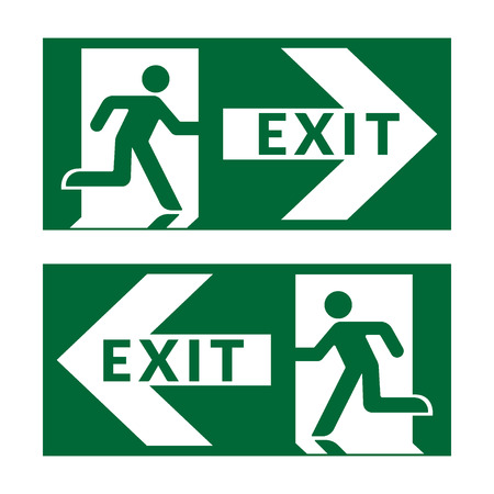 exit door: Exit sign. Emergency fire exit door and exit door. Green icon on white background. Safe condition symbol. Label with human figure and arrow. Vector illustration