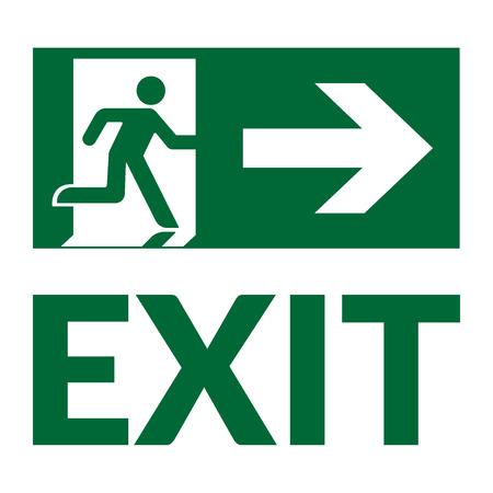 Beenden Sie Zeichen mit Text. Notfall Feuer Ausgangstür und Ausgangstür. Grünes Symbol auf weißem Hintergrund. Sicherer Zustand Symbol. Beschriften mit der menschlichen Figur und Pfeil. Vektor-Illustration