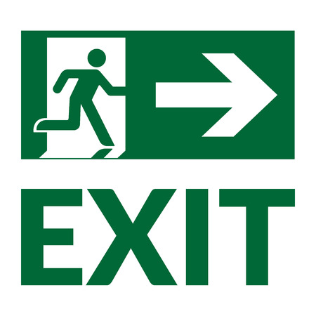 exit emergency sign: Exit sign with text. Emergency fire exit door and exit door. Green icon on white background. Safe condition symbol. Label with human figure and arrow. Vector illustration