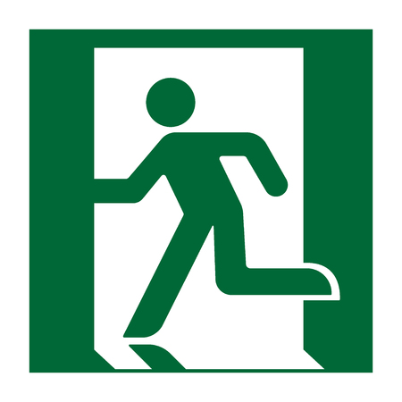 exit door: Exit sign. Emergency fire exit door and exit door. Green icon on white background. Safe condition symbol. Label with human figure. Vector illustration Illustration