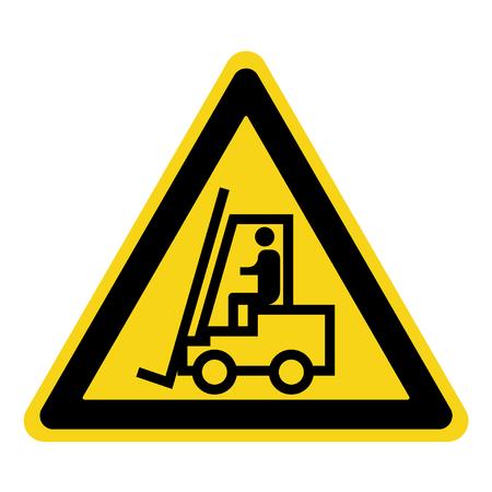 Vorkheftruck teken. Symbool van bedreiging alert. Gevaarwaarschuwing icoon. Black lift-truck met het silhouet van een man embleem geïsoleerd in gele driehoek op een witte achtergrond. Danger label. Stock Vector