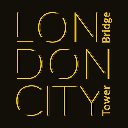 london night: London city Typography Graphics. Fashion printing design for sportswear apparel. Original wear. Concept in vintage graphic style for print production. Tower Bridge. Effect of gold. Vector illustration