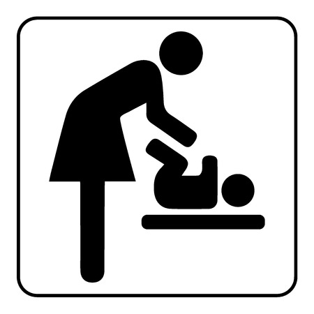 Mödrar rum tecken. Mor swaddle barn ikon på vit bakgrund. Symbol av toaletten betecknar rum för kvinnor och barn. Mor och barn WC emblem. Skötrum emblem. Spädbarnsvård rum etikett. Vektor