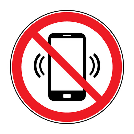 No cell phone sign. Mobile phone ringer volume mute sign. No smartphone allowed icon. No Calling label on white background. No Phone emblem great for any use. Stock Vector Illustration Vectores