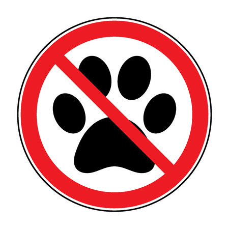 violate: No pets Sign. Paw print with prohibition symbol. With pet no access. Round icon on white background. Stop emblem. Vector illustration Illustration