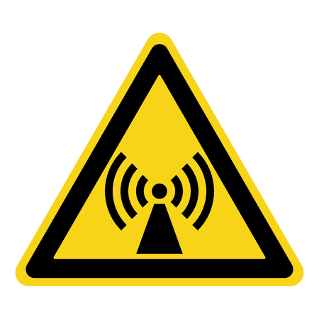 non stock: Non-ionizing radiation sign. Attention symbol of non ionized threat alert. Black hazard emblem isolated in yellow triangle on white background. Danger label. Warning icon. Stock Vector Illustration