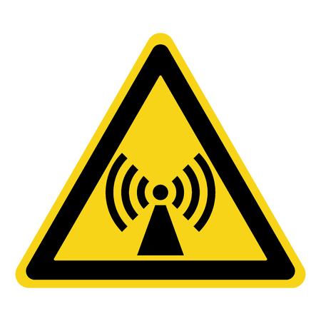 ionizing radiation: Non-ionizing radiation sign. Attention symbol of non ionized threat alert. Black hazard emblem isolated in yellow triangle on white background. Danger label. Warning icon. Stock Vector Illustration