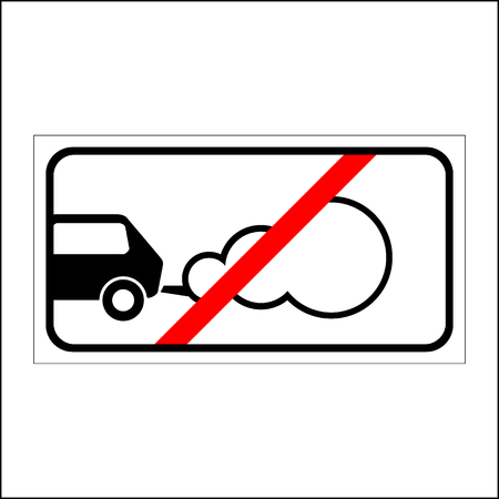 parking is prohibited: Stop the engine icon. Parking with the engine running is prohibited sign. Concept of smog pollutant, damage, contamination, garbage, combustion products. On white background. Flat design. Vector Illustration
