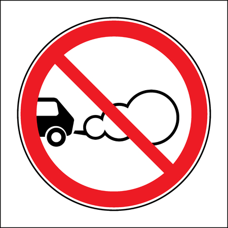 Stop the engine icon. Parking with the engine running is prohibited sign. Concept of smog pollutant, damage, contamination, garbage, combustion products. On white background. Flat design. Vector Ilustracja