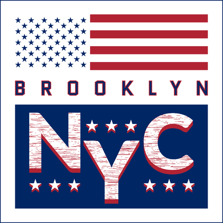 athletic wear: New York Brooklyn Typography on white background with american flag. Sport T-shirt fashion graphics. Design print for sportswear apparel. NYC original wear. Vector illustration
