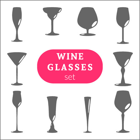 stemware: Set of stemware for different drinks. Wine, brandy, martini, cognac and other glasses symbols. Isolated icons collection for alcoholic drinks. Silhouettes of bocal. Vector illustration