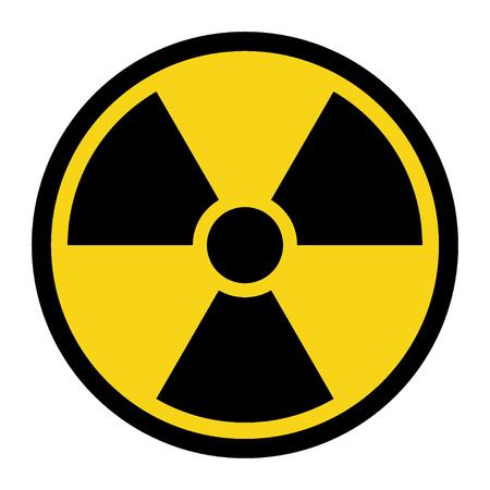 radiacion: Muestra de peligro de radiación. Símbolo de alerta de amenaza radiactiva. emblema del peligro negro aislado en el círculo amarillo sobre fondo blanco. etiqueta de peligro. El icono de aviso. Ilustración común del vector