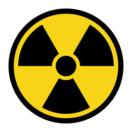 Radiation Hazard Sign. Symbol of radioactive threat alert. Black hazard emblem isolated in yellow circle on white background. Danger label. Warning icon. Stock Vector Illustration