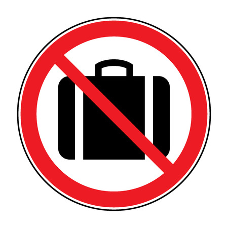 no symbol: No hand baggage vector sign. No suitcase icon. No Briefcase button allowed. Portfolio symbol button on white background. Red prohibition emblem. Stop symbol. Stock Vector Illustration