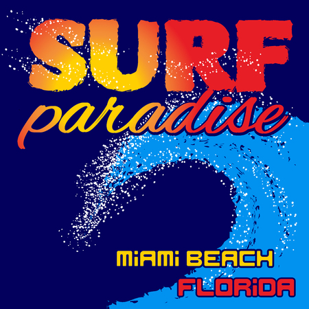sportswear: Miami Beach Florida typography graphics. Fashion design, surf. Surfing paradise t-shirt graphic. Printing style for sportswear apparel and other print production. Original wear. Vector illustration Illustration