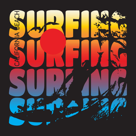 California beach Typography Graphics. T-shirt Printing Design for sportswear apparel. CA original wear. Concept in vintage graphic style for print production. Surfer, wave, seagull, sunrise. Vector Illustration