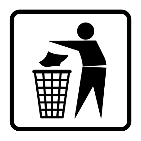 litter bin: Do not litter sign. Silhouette of a man, throwing garbage in a bin, isolated on white background. Icon vector Illustration