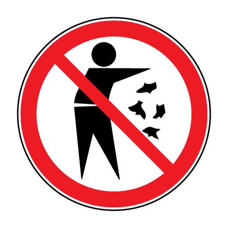記号をごみをしないでください。白い背景に分離されたゴミを投げて、人のシルエット。赤の丸でポイ捨て記号はありません。パブリック インフォ  イラスト・ベクター素材