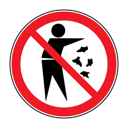 botar basura: No lo hagas signo camada. Silueta de un hombre, la basura que lanza, aislado sobre fondo blanco. Ningún símbolo tirar basura en la ronda rojo. Icono de Información Pública. Vector Vectores