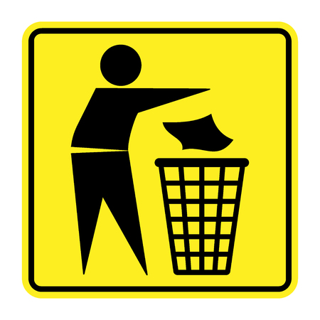 throwing: Do not litter sign. Silhouette of a man, throwing garbage in a bin, isolated on yellow background. No littering symbol in square. Public Information Icon. Vector