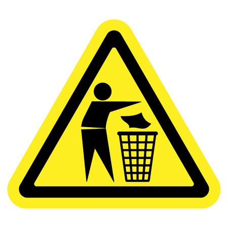 botar basura: No lo hagas signo camada. Silueta de un hombre, tirar basura en un contenedor, aislado en fondo amarillo. Ningún símbolo tirar basura en triángulo. Icono de Información Pública. Vector