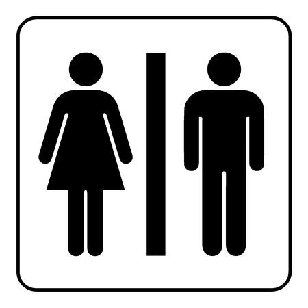 Muestra del lavabo. Varón y hembra icono de aseo que denota las instalaciones de baño para hombres y mujeres. La dama y un hombre WC emblema. Tocador símbolo sobre fondo blanco. Ilustración común del vector