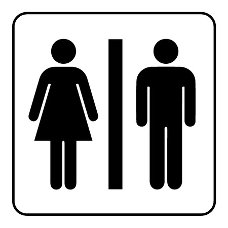 public toilet: Restroom sign. Male and female toilet icon denoting restroom facilities for both men and women. Lady and a man WC emblem. Lavatory symbol on white background. Stock Vector Illustration
