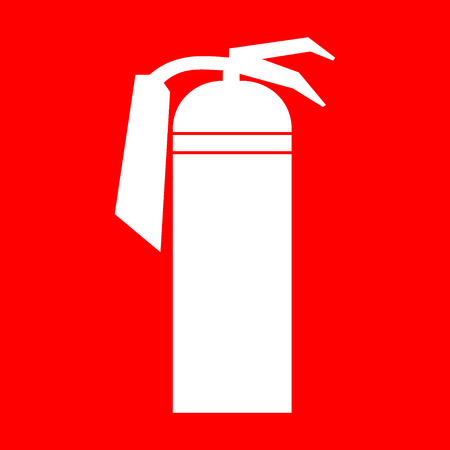 fire extinguisher sign: Fire extinguisher sign. White silhouette of a fire extinguisher on a red background. Attention icon in the red square. You can simply change color and size. Stock Vector Illustration