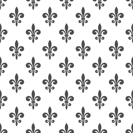 Seamless pattern with fleur-de-lis on a white background. Graphics for wallpaper, wrapping, fabric, apparel, other print production. Fleur de lis royal lily texture in antique style. Vector