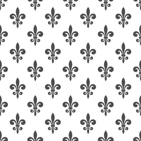 Patrón sin fisuras con la flor de lis en un fondo blanco. Gráficos para el papel pintado, envoltura, tela, ropa, otra producción de impresión. Flor de lis real textura de lirio en estilo antiguo. Vector Foto de archivo - 49782072