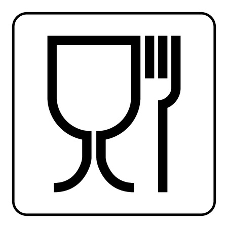 Food safe sign. International emblem on the packaging. Food safe symbol used for marking food contact materials in the EU. Black icon in square, isolated on white background. Stock Vector Illustration