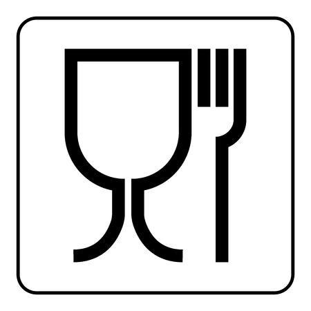 caja fuerte: Signo seguro de Alimentos. Emblema internacional en el envase. Símbolo de seguridad alimentaria se utiliza para marcar los materiales en contacto con alimentos en la UE. Icono negro en la plaza, aislado en fondo blanco. Ilustración común del vector