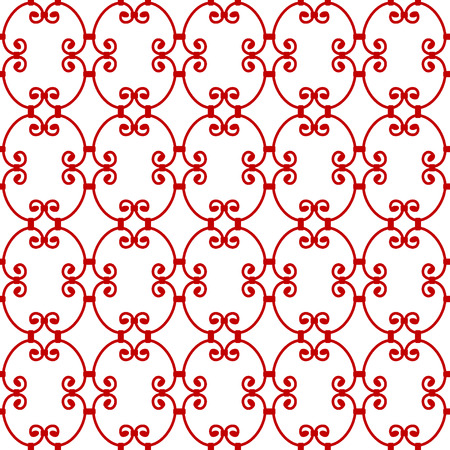 forging: Forged seamless pattern. Elegant red curly forging on white background. Openwork metal fence design. Modern style for wallpaper, wrapping, fabric, background, apparel, other print production. Vector