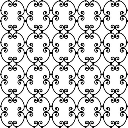forged: Forged seamless pattern. Elegant red curly forging on white background. Openwork metal fence design. Modern style for wallpaper, wrapping, fabric, background, apparel, other print production. Vector