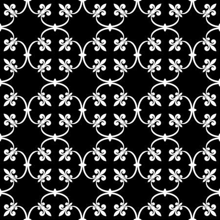 royal french lily symbols: Forged seamless pattern of white fleur-de-lis on a black background. Openwork metal fence design. Modern style for wallpaper, wrapping, fabric, background, apparel, other print production. Vector