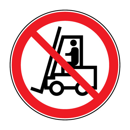 No forklift truck sign. Red prohibited icon isolate on white background. Symbol of Prohibit forklift in this area. No access for forklift trucks and other industrial vehicles in caution zone. Vector Vectores