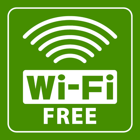 Wi-Fi icon. Wireless white sign isolated on green background. Network Symbol. Internet Emblem for business or commercial use. Stock vector illustration. You can change color and size