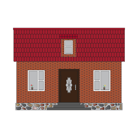 front elevation: Brick house with mansard and tiled roof. Real estate design isolated on white background. Built small house for rental or for sale. Front elevation. Cute little vintage retro home. Rent-A-House Vector Illustration