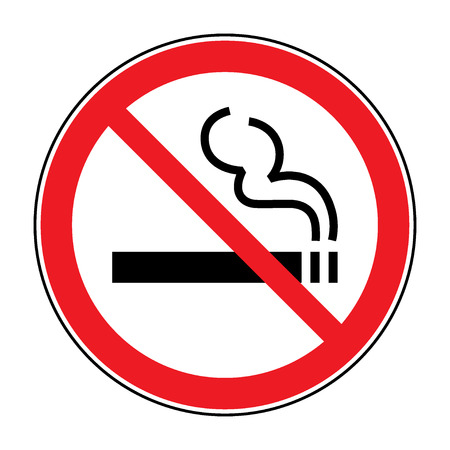 smoke: No smoking sign. A sign showing no smoking is allowed. Red round no smoking sign. Smoking prohibited symbol isolated on white background. Stock Vector Illustration
