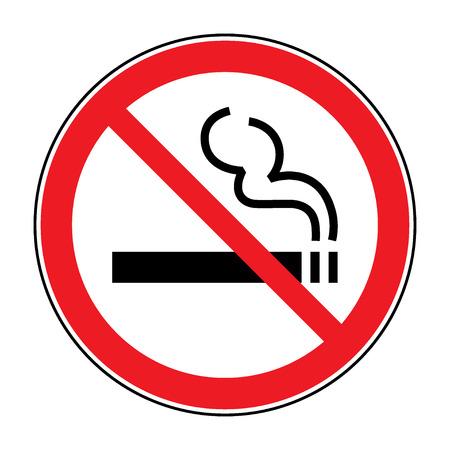 prohibido fumar: Señal de no fumar. Se permite una señal que muestra no fumar. redondo rojo señal de no fumar. Fumar símbolo de prohibido aislado sobre fondo blanco. Ilustración común del vector