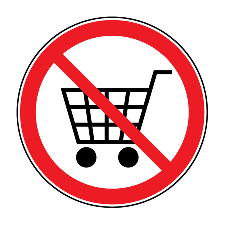 prohibited symbol: No Shopping Cart Sign. Red round No Shopping Cart icon. Illustration of a forbidden signal. No trolley allowed symbol. Prohibited symbol isolated on white background. Flat design. Stock Vector