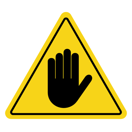 hand stop: STOP. No entry. Hand sign on yellow background. Attention triangular stop icon. Hand symbol for prohibited activities. Vector illustration - you can simply change color and size