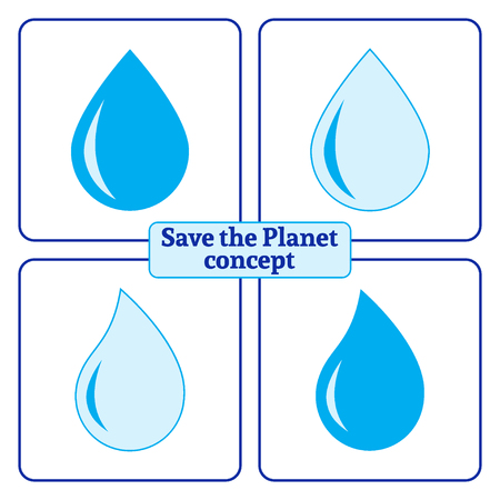 Blue water drop icons set. Concept Save the Planet. Protect water of world. Care of Earth. Ecology design elements. Eco symbols Isolated on white background. Flat style. Organic Bio. Vector