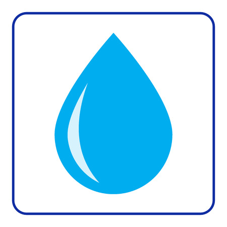 Blue water drop icon. Concept Save the Planet. Protect water of world. Care of Earth. Ecology design element. Eco symbols isolated on white background. Flat style. Organic Bio. Vector illustration