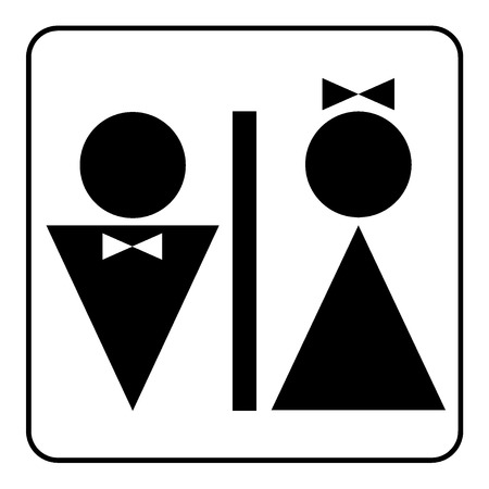 man and women wc sign: Restroom sign. Male and female toilet icon denoting restroom facilities for both men and women. Lady and a man WC emblem. Lavatory symbol on white background. Stock Vector Illustration