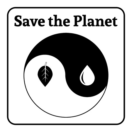 yinyang: Yin Yang symbol. Concept Save the Planet. Natural themed yin-yang emblem. Eco elements. Organic Bio. Icon of harmony signs representing balance with nature or environmental conservation. Vector Illustration