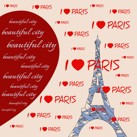 i love paris: Women t-shirt design. Fashion Typography Graphics with hearts and lettering Beautiful city, I love Paris. Illustration eiffel tower with red hearts. Big red heart. Paris as symbol of love. Stock Photo
