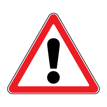 Hazard warning attention sign. Icon in a red triangle with exclamation mark symbol, isolated on a white background. Traffic symbol. Stock illustration Foto de archivo