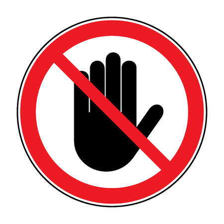 STOP sign. No entry. Black hand sign isolated on white background. Red stop symbol in a crossed circle. Hand sign for prohibited activities. Stock illustration - you can change color and size