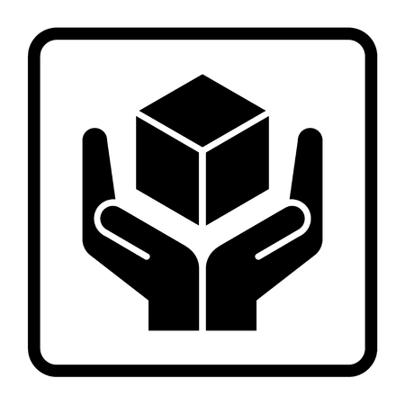 handle with care: Handle with care sign in a black square. Fragile or packaging symbol. Fragile cardboard black icon isolated on a white background. Stock illustration